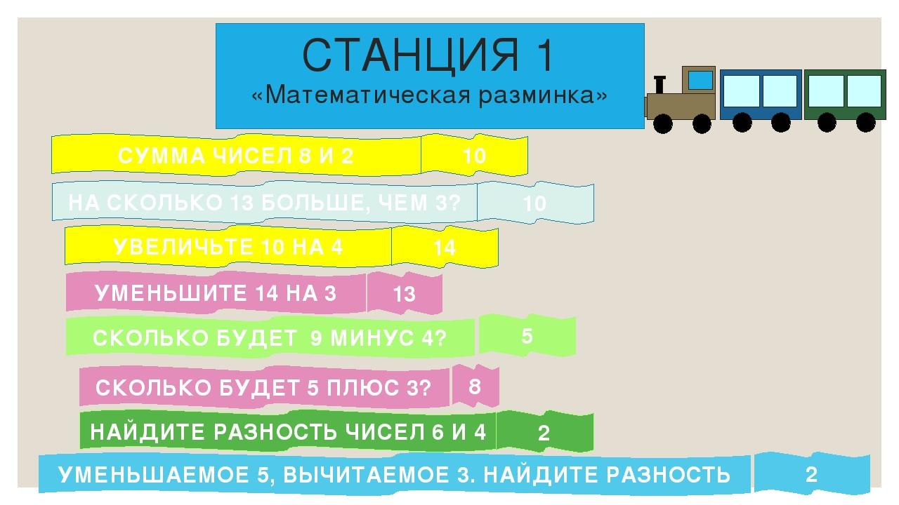СТАНЦИЯ 1 «Математическая разминка» СУММА ЧИСЕЛ 8 И 2 НА СКОЛЬКО 13 БОЛЬШЕ,...