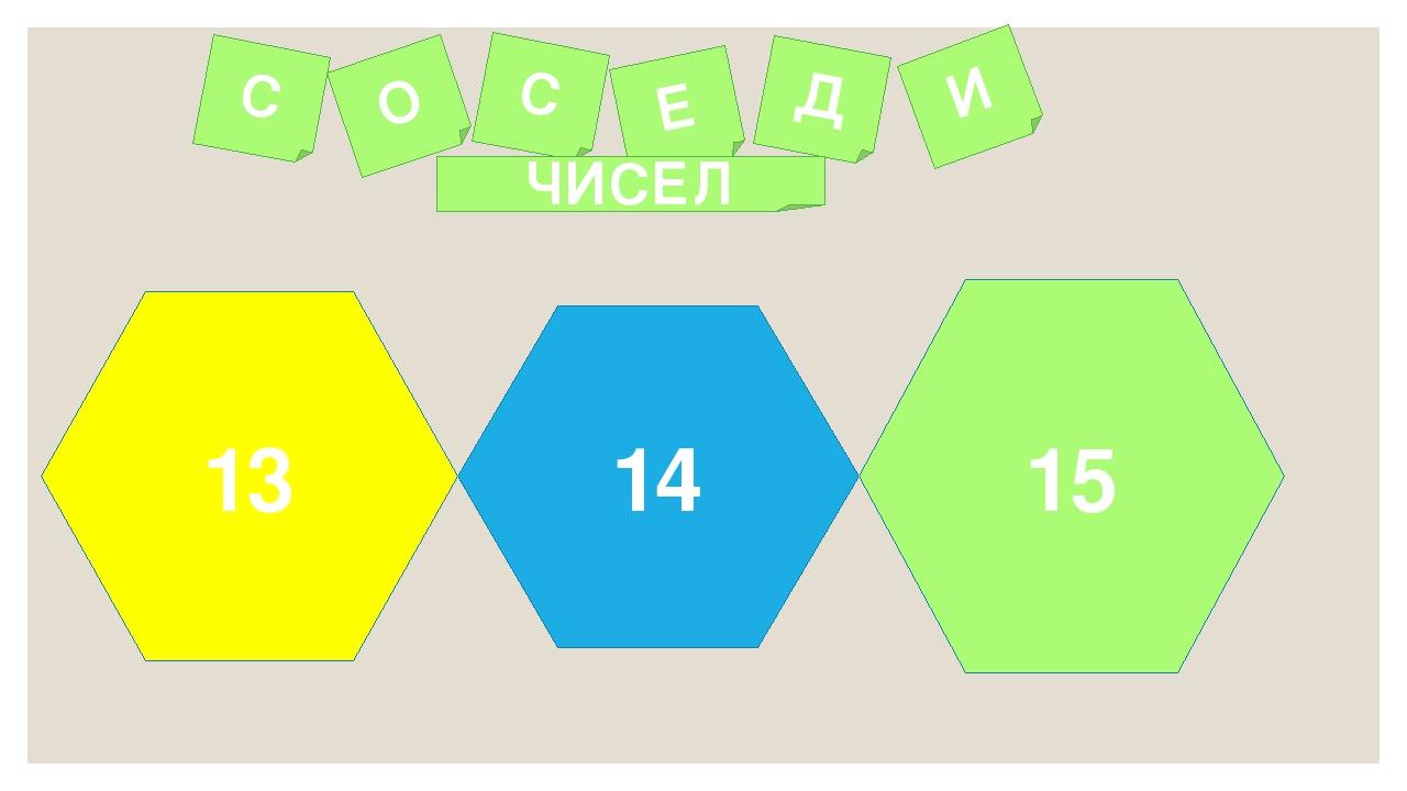 14 15 13 С О С Е Д И ЧИСЕЛ