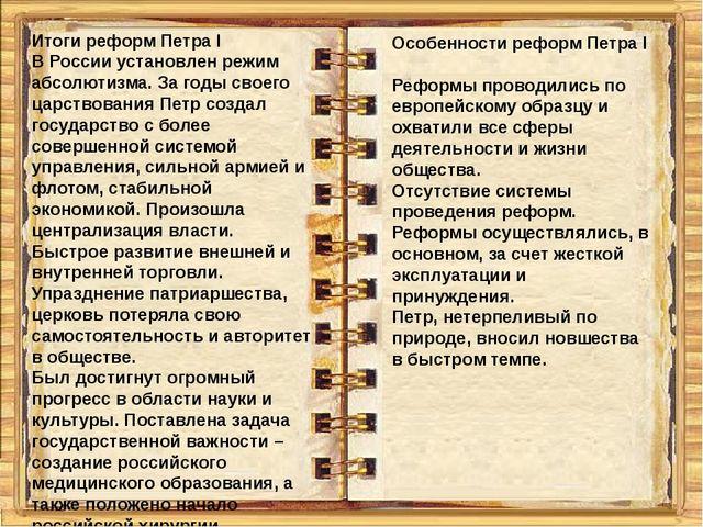 Итоги реформ Петра I В России установлен режим абсолютизма. За годы своего ца...