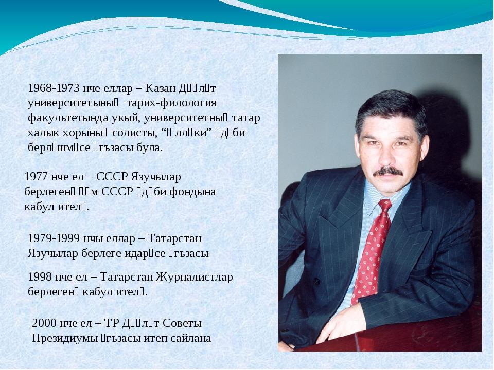 1968-1973 нче еллар – Казан Дәүләт университетының тарих-филология факультеты...