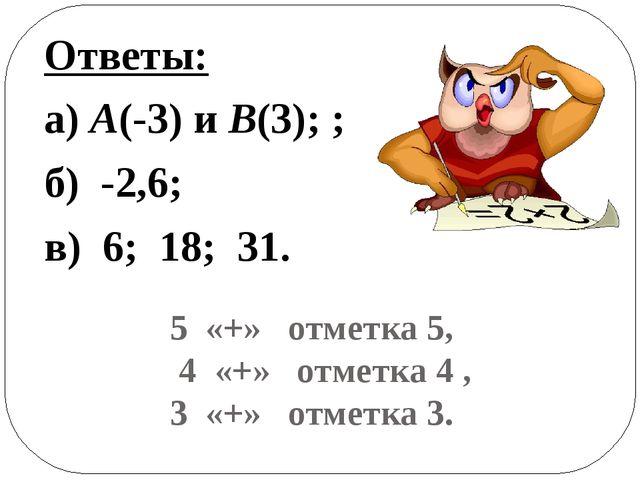 5 «+» отметка 5, 4 «+» отметка 4 , 3 «+» отметка 3. Ответы: а) А(-3) и В(3);...