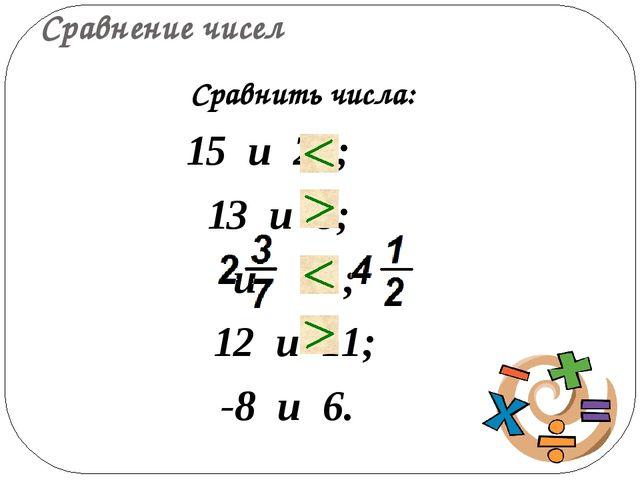 Сравнение чисел 15 и 28; 13 и 8; и ; 12 и 11; -8 и 6. Сравнить числа: