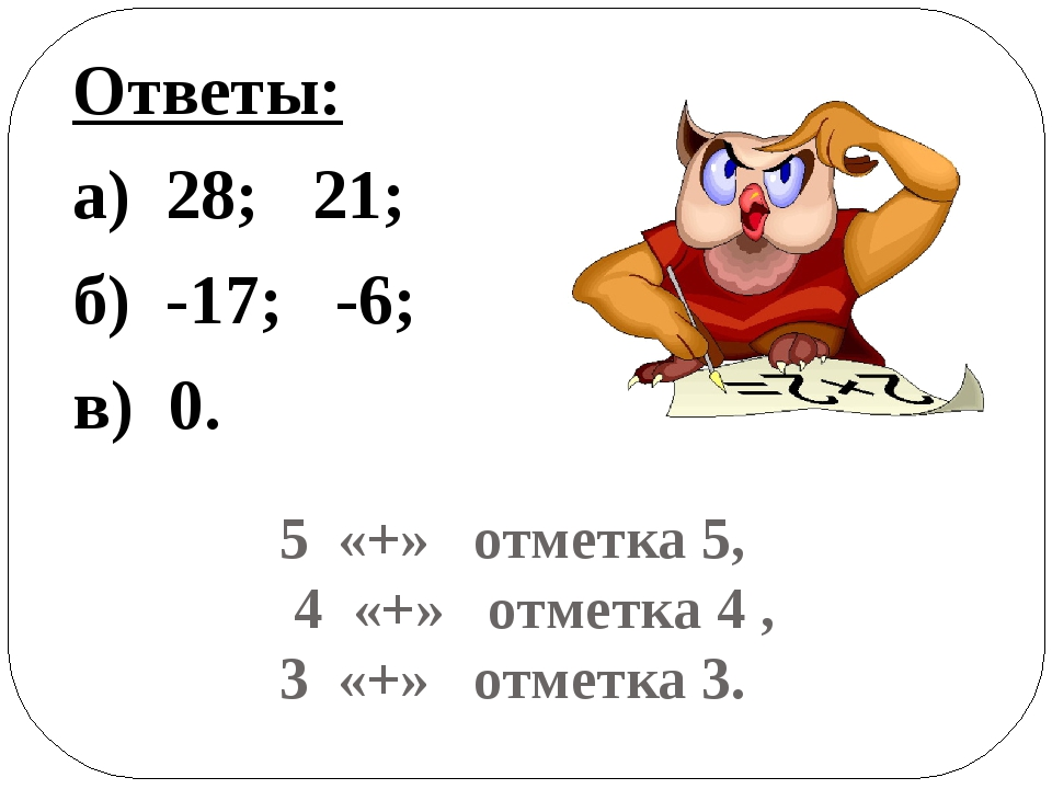 5 «+» отметка 5, 4 «+» отметка 4 , 3 «+» отметка 3. Ответы: а) 28; 21; б) -17...