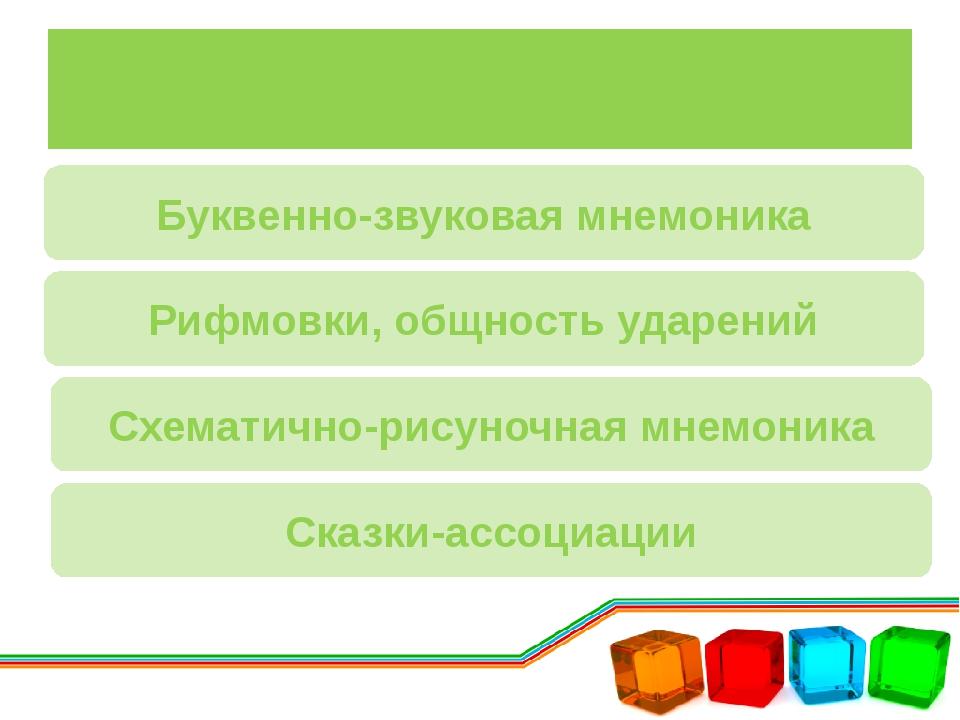 Классификация приемов Буквенно-звуковая мнемоника Рифмовки, общность ударений...
