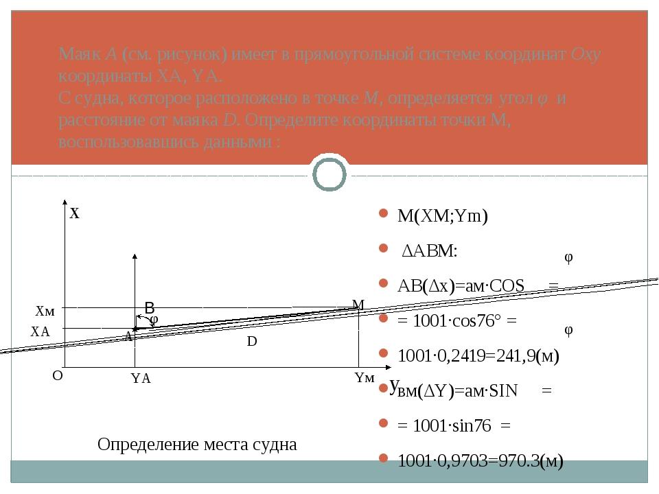 Маяк А (см. рисунок) имеет в прямоугольной системе координат Оху координаты X...