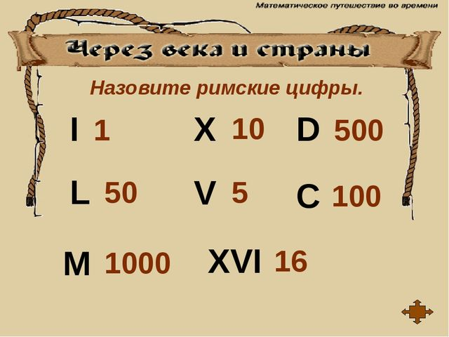 Назовите римские цифры. I V X L C D M XVI 1 10 5 16 1000 100 500 50