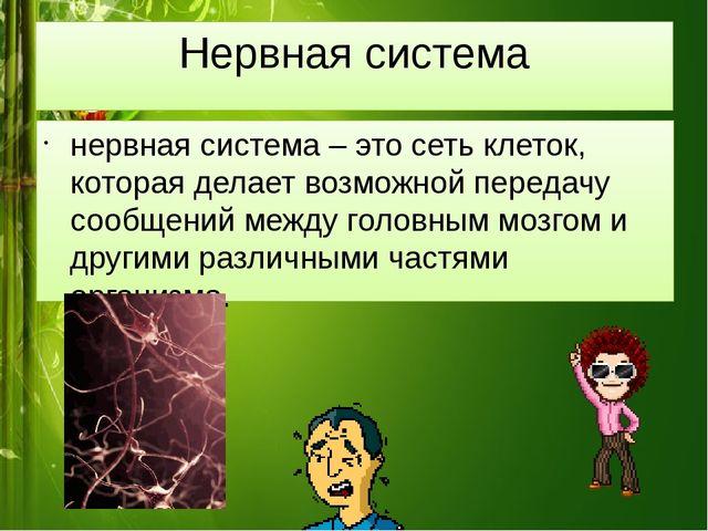 Нервная система нервная система – это сеть клеток, которая делает возможной п...