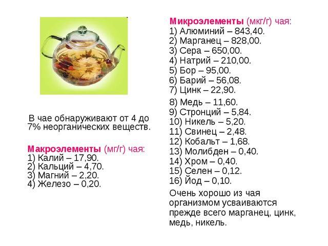 В чае обнаруживают от 4 до 7% неорганических веществ. Макроэлементы (мг/г) ч...
