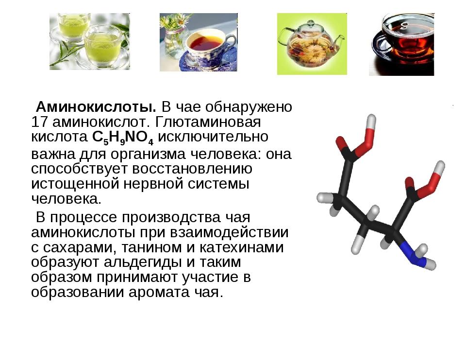 Аминокислоты. В чае обнаружено 17 аминокислот. Глютаминовая кислота C5H9NO4...
