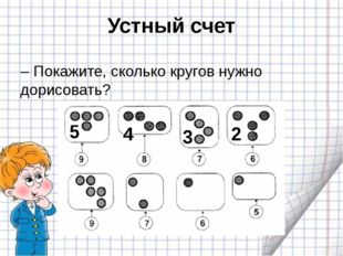 Устный счет – Покажите, сколько кругов нужно дорисовать? 5 4 3 2