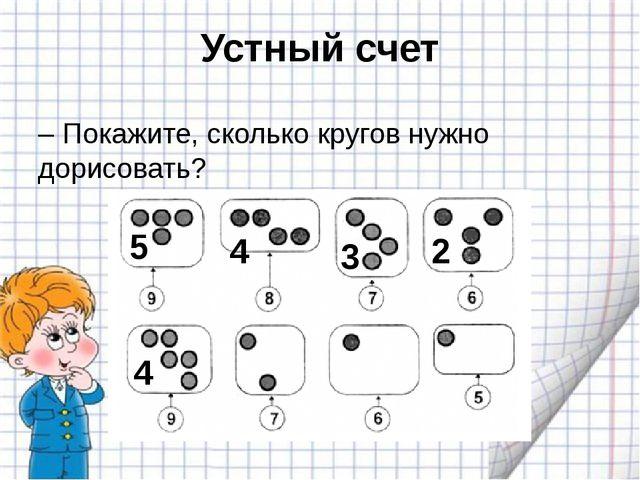 Устный счет – Покажите, сколько кругов нужно дорисовать? 5 4 3 2 4