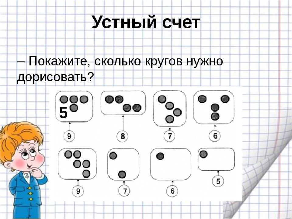 Устный счет – Покажите, сколько кругов нужно дорисовать? 5