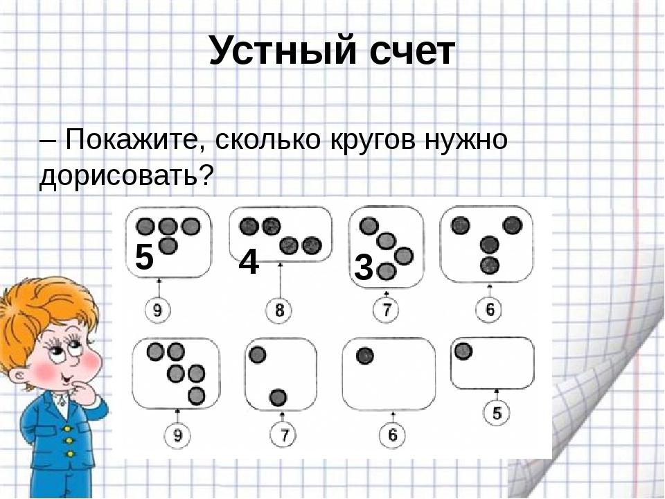 Устный счет – Покажите, сколько кругов нужно дорисовать? 5 4 3