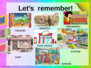 Let's remember! THEATRE BAKER'S GREENGROCER'S CAFÉ POST OFFICE STATION GARAGE