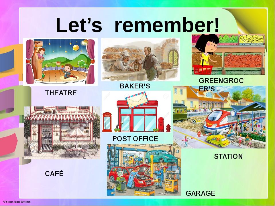 Let's remember! THEATRE BAKER'S GREENGROCER'S CAFÉ POST OFFICE STATION GARAGE...