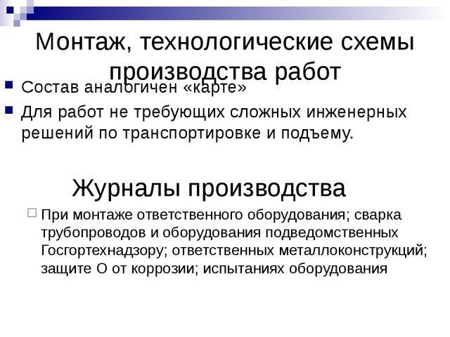 Монтаж, технологические схемы производства работ Состав аналогичен «карте» Дл...