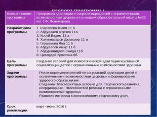 паспорт программы Наименование программы Программа адаптации и социализации