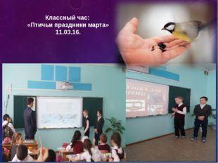 Классный час: «Птичьи праздники марта» 11.03.16.