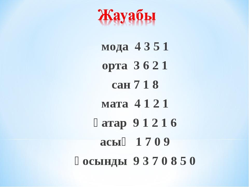мода 4 3 5 1 орта 3 6 2 1 сан 7 1 8 мата 4 1 2 1 қатар 9 1 2 1 6 асық 1 7 0 9...