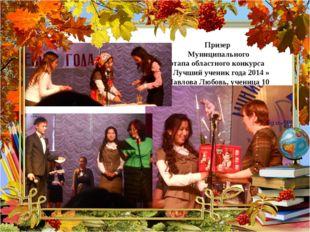 Призер Муниципального этапа областного конкурса « Лучший ученик года 2014 » П
