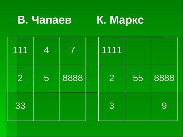 В. Чапаев К. Маркс 111 4 7 2 5 8888 33 1111 2 55 8888 3 9