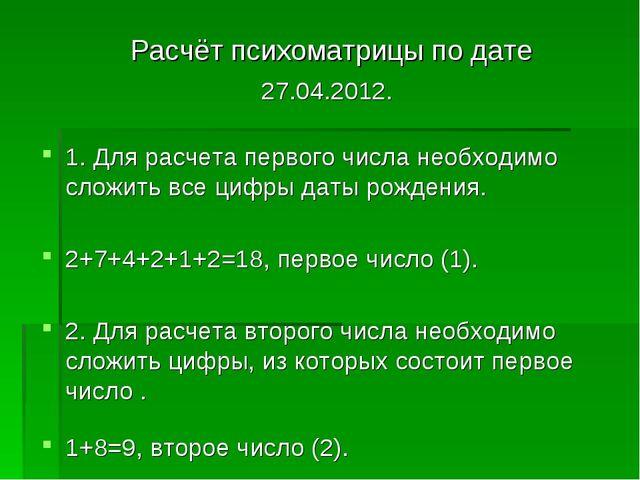 Расчёт психоматрицы по дате 27.04.2012. 1. Для расчета первого числа необход...
