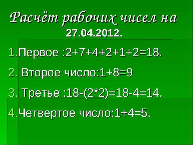 Расчёт рабочих чисел на 27.04.2012. Первое :2+7+4+2+1+2=18. Второе число:1+8=...