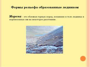 Формы рельефа образованные ледником Морена – это обломки горных пород, попавш