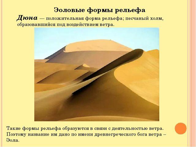 Эоловые формы рельефа Дюна — положительная форма рельефа; песчаный холм, обра...