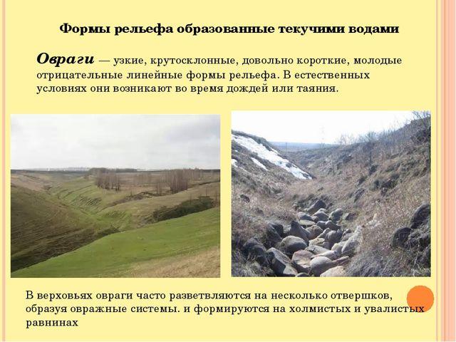 Формы рельефа образованные текучими водами Овраги — узкие, крутосклонные, дов...