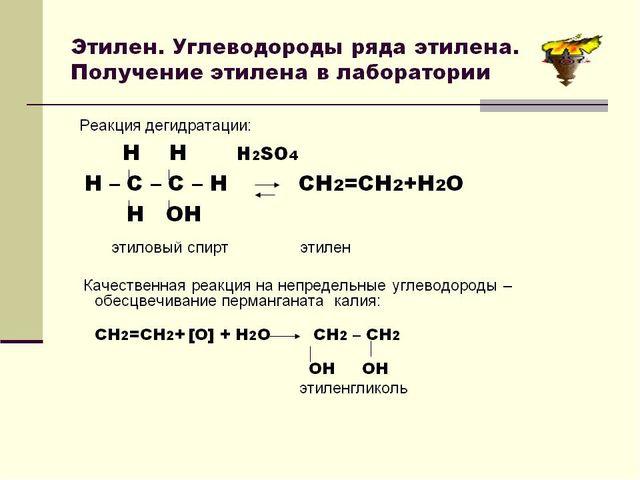 Этилен. В промышленности получают реакцией дегидрирование этана