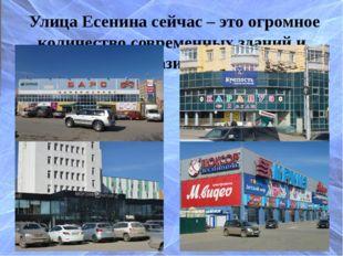 Улица Есенина сейчас – это огромное количество современных зданий и магазинов.