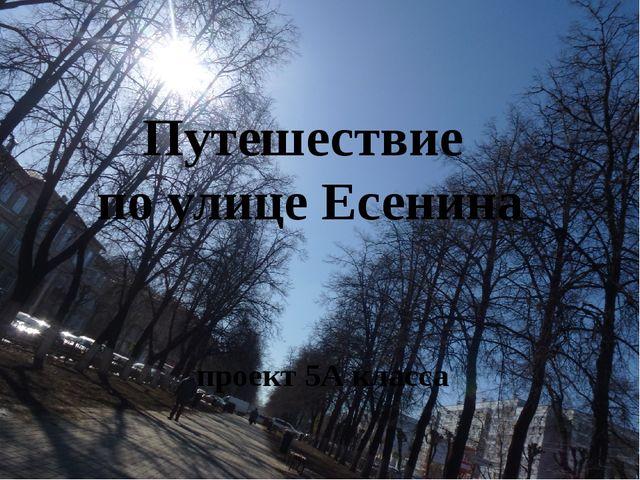 Путешествие по улице Есенина проект 5А класса