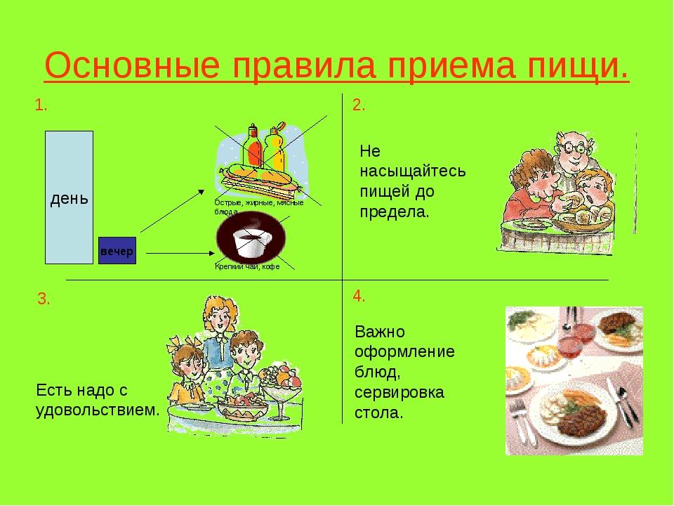 Основные правила приема пищи. день вечер Острые, жирные, мясные блюда Крепкий...