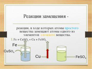 Реакции замещения - реакции, в ходе которых атомы простого вещества замещают
