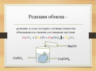 Реакции обмена - реакции, в ходе которых сложные вещества обмениваются своими