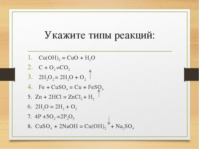 Укажите типы реакций: Cu(OH)2 = CuO + H2O C + O2 =CO2 2H2O2 = 2H2O + O2 Fe +...