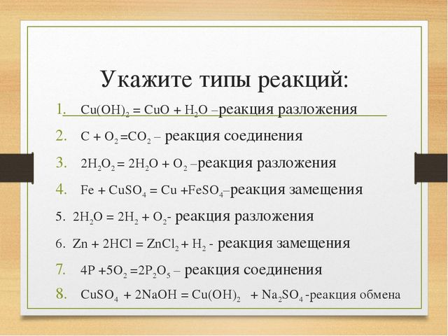 Укажите типы реакций: Cu(OH)2 = CuO + H2O –реакция разложения C + O2 =CO2 – р...