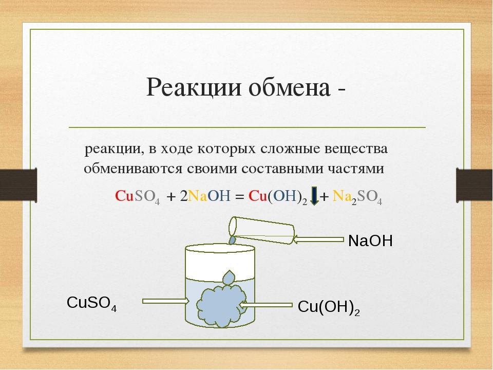 Реакции обмена - реакции, в ходе которых сложные вещества обмениваются своими...