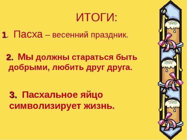 1. Пасха – весенний праздник. 2. Мы должны стараться быть добрыми, любить дру...