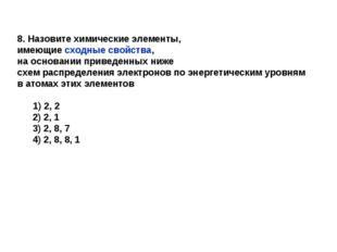 8. Назовите химические элементы, имеющие сходные свойства, на основании приве