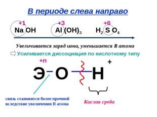 Усиливается диссоциация по кислотному типу Увеличивается заряд иона, уменьшае