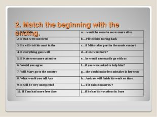 2. Match the beginning with the ending. 1. If he callsa….would he come to s