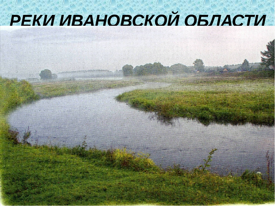 РЕКИ ИВАНОВСКОЙ ОБЛАСТИ По области протекает 160 рек, в том числе Волга с Гор...
