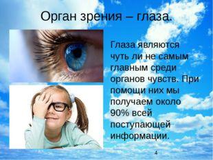 Орган зрения – глаза. Глаза являются чуть ли не самым главным среди органов ч