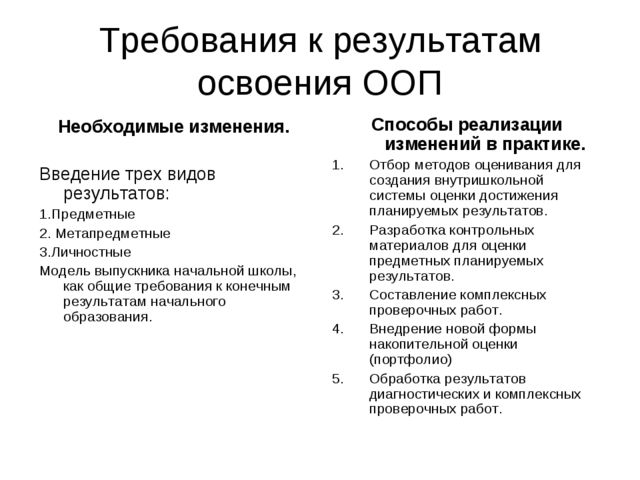 Требования к результатам освоения ООП Необходимые изменения. Введение трех ви...
