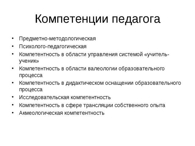 Компетенции педагога Предметно-методологическая Психолого-педагогическая Комп...