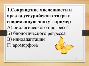 * 1.Сокращение численности и ареала уссурийского тигра в современную эпоху -