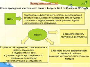 Контрольный этап Сроки проведения контрольного этапа с 4 апреля 2012 по 21 ап
