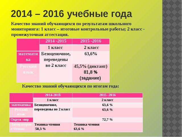 2014 – 2016 учебные года Качество знаний обучающихся по результатам школьного...